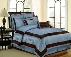 Luxury hotel style blue and brown comforter set.