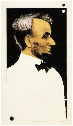 Abraham Lincoln The President (1996) Color Intaglio: etching, drypoint, scraping and burnishing.  Seven plates: two copper black master plates, one zinc color master plate, four assembled shaped zinc plates.