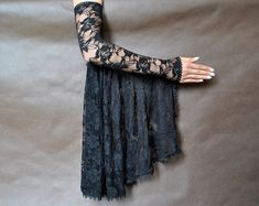 Items similar to Elegant GOTHIC VAMPIRE costume Victorian Evening Glamour lace long GLOVES with mistic flounce, frill, black, lace fingerless mittens on Etsy Kurti Sleeves Design, Sleeves Designs For Dresses, Sleeve Designs, Blouse Designs, Gothic Vampire Costume, Vampire Costumes, Designer Wear, Designer Dresses, Elegant Gloves