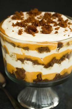 Pumpkin-Gingerbread Trifle Recipe by @browneyedbaker :: www.browneyedbaker.com