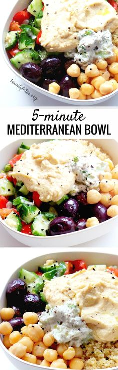 Mediterranean Bowl – Healthy Lunch Meal Prep Mediterranean Bowl – My Favorite Lunch Recipe! Try this healthy lunch recipe, it's also great to meal prep. You prepare everything and keep all parts in separate containers in the fridge (up to Mediterranean Bowls, Easy Mediterranean Diet Recipes, Lunch Meal Prep, Healthy Meal Prep, Healthy Protein, Eating Healthy, Vegetarian Recipes, Cooking Recipes, Healthy Recipes