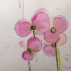 ORIGINAL AQUARELL Aquarellmalerei Bild Kunst Orchideen Blumen Watercolour | eBay