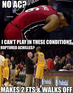 LeBron James vs. Kobe Bryant! #Cramps #RupturedAchilles - http://nbafunnymeme.com/nba-memes/lebron-james-vs-kobe-bryant-cramps-rupturedachilles