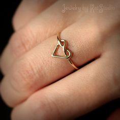 Gold heart knot ring love knot ring Infinity Heart by Katstudio