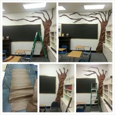 A butcher paper tree I made. I rolled the branches and stapled it to the wall. The trunk was shaped freehand and then stapled to the wall. Classroom Setup, Science Classroom, Science Education, Classroom Organization, Halloween Bulletin Boards, 8th Grade Science, Butcher Paper, Animal Habitats, Paper Tree