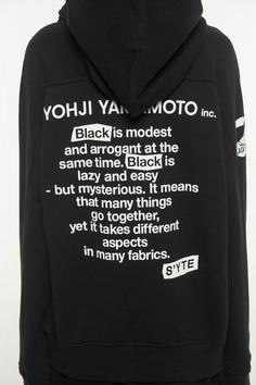 French Terry Stitch Work Message&Crow Hoodie(S Black) Yohji Yamamoto, French Terry, Crow, Messages, Stitch, Hoodies, Spring, Fabric, Summer