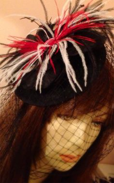 Black white red feather fascinator hat  cage by BridalFascinators