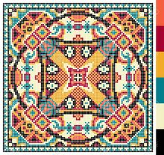 geometric square pattern for cross stitch ukrainian traditional embroidery, who like hand made and creation, pixel ornamental vector illustration – Kaufen Sie diese Vektorgrafik bei Shutterstock und finden Sie weitere Bilder. Cross Stitch Pillow, Cross Stitch Charts, Cross Stitch Designs, Cross Stitch Patterns, Cross Stitch Geometric, Modern Cross Stitch, Crochet Pillow, Tapestry Crochet, Cross Stitching