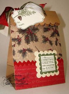 Christmas brown paper bag...cutsie Xmas gift away baggie!