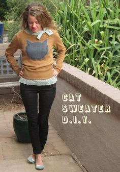 DIY SWEATERS: DIY Another Cat Sweater: DIY Clothes Refashion