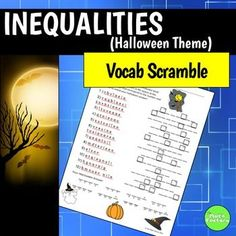 Use this fun Halloween themed activity to reinforce some math vocabulary!  In this free resource, students must unscramble 12 math vocabulary words dealing with inequalities to fill in a Halloween message.  Certain letters are boxed with a number.  Students place the letter in the corresponding number space at the bottom of the page to fill in the message.