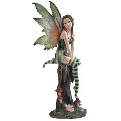 Green Fairy on Stump Statue - 05-91253 by Medieval Collectibles