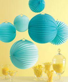 Blue Accordion Lantern Set