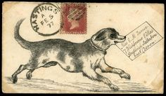 1877 pen and ink illustrated envelope depicting a dog delivering a letter, sent from Hastings to Budleigh Salterton