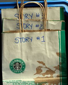 """Story bags. Fill bags with random items, have the children use them to come up with a story. How fun and using lots of imagination...Good Idea for when I teach Writing Classes"" French immersion: use during centres for students to create an oral story based on the items in the bag; can base on current vocabulary theme (e.g., automne, le corps, le Noël, etc)"