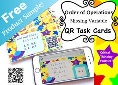 -This free product sample includes 6 task cards with self-checking QR codes. -The full product contains 30 QR task cards as well as a recording and answer sheet. Click here for the full product.-QR answers are colorful and not only show the answers but prove the answers!-While students can use previously learned algebra skills to balance out the equation, the answer key shows the correct answer plugged in and solved, proving the correct answer.