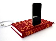 Iphone dock in a book. This would look fantastic in a home library!