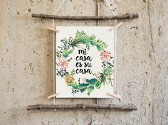 cactus print printable art home sweet home mi casa es su