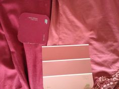 These are my personal romantic colours with their corresponding paint chips, Behr Antique Ruby and Strawberry Rhubarb (the entire Strawberry Rhubarb card is pretty nice, although I put the bottom one in my pocket and washed it...).