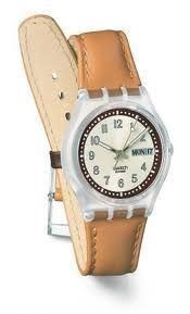 Swatch Unisex Croissant Chaud Leather Strap Watch Ref: GE700