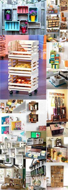 Cute Ideas for Pallets Fruit Crates Reusing