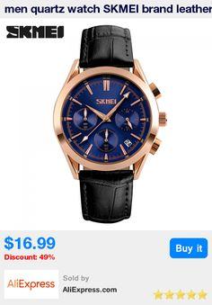 men quartz watch SKMEI brand leather strap watches for men fashion rose gold auto date clock male 30M waterproof wristwatches * Pub Date: 07:05 Jun 29 2017
