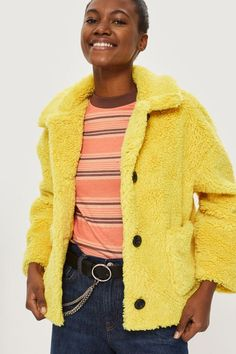Cropped Button Borg Coat