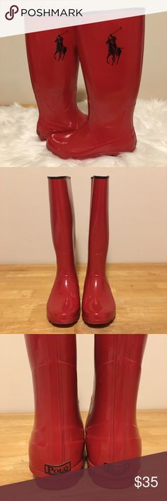 """🆕Vintage Polo Knee-High Rain Boots Vintage Tall Red Rain Boots from Polo by Ralph Lauren. The interior of the boot is lined in Black. The """"Polo"""" Brand on the heels are also Black, along with the exterior top of the boot. Also featured is the Polo Player with Horse that is so easily recognizable. Boot measures 15"""" high. Although they have a few exterior scratches on them, they still have a long life! At the top of each boot the lining has slightly pulled away from the boot, most likely…"""