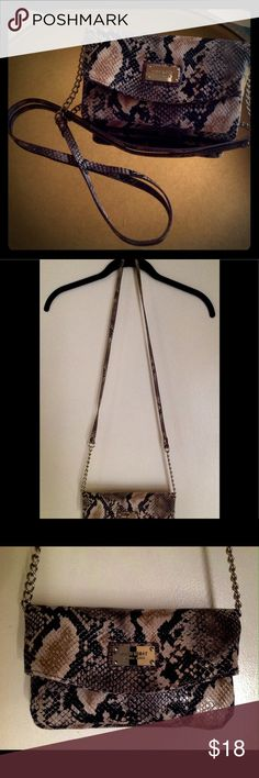 Nine West Crossbody Snake Skin Bag Clutch Style Crossbody Brown Black Tan Anaconda Snake Bag by Nine West NWOT Nine West Bags Crossbody Bags