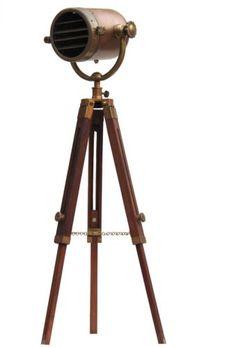 Industrial-Photography-Studio-Spotlight-Nautical-Floor-Lamp-Wooden-Tripod-Decor