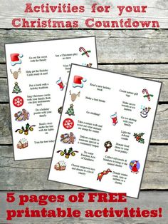 FREE printable slips of family outings, books, nature & craft activities, movies & more to put in your Advent Calendar or a 12 Days of Christmas countdown!