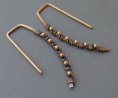 Oxidized Copper Earrings with Tiny Copper Beads - 18 Gauge Square Topped. ChainFlower, via Etsy.