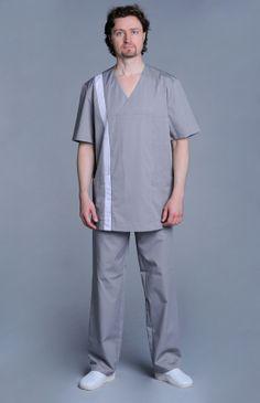 """Блуза медицинская мужская """"Апрель"""" серая с белой полосой"""