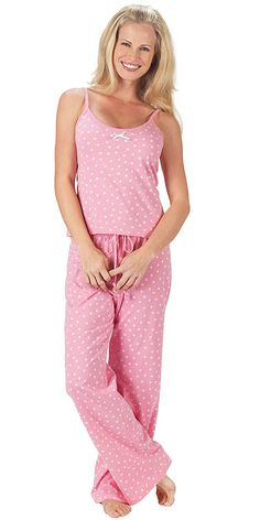 0684a67518 Pink Polka Dot Brushed Cotton Jersey Camisole Pajamas for Women