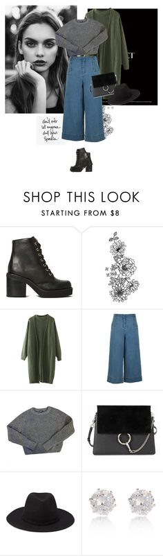 """""""Carte Postale"""" by iolitte ❤ liked on Polyvore featuring Jeffrey Campbell, TIBI, American Apparel, Chloé, Forever 21, River Island, Boots, cardigan, chloe and SailorPants"""