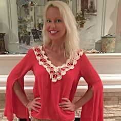 Gorgeous coral split sleeve top w/crochet detail Stunning color - light breathable material- v neck with pretty crochet/ v in back!  Follow me on Instagram @kfab333 for more items Tops Blouses