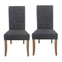 Antoinette Charcoal Pair of Dining Chairs | Dunelm