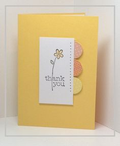 A sweet yellow flower makes a great handmade thank you card, and is another good use for little paper scraps.  I want one in every color!