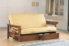 Futon With Magazine Rack On Sides And Flip Up Arms In Weathered Oak. Separate Futon Drawers (One Pair) In Weathered Oak. Futon Mattress, Futon Sofa, Sofa Beds, Couches, Daybed Pillows, Sleeper Sofas, Foam Mattress, Houses, Modern
