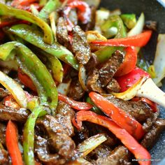 This beautiful One Skillet Steak and Peppers is packed full of juicy steak, tender crisp onions and peppers in a lightly sweet Hoisin ginger mustard sauce.