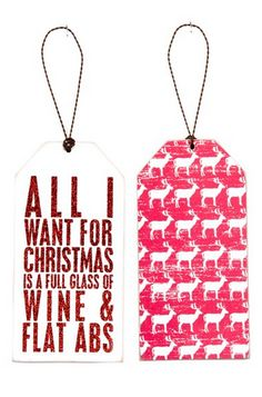 """All I want for Christmas is a full glass of wine and flat abs,"" #thatisall"