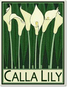 Calla Lilly Tile by Wildflower Graphics Botanical Illustration, Botanical Prints, Art Deco Flowers, Jugendstil Design, Art Nouveau Tiles, Calla Lillies, Art Deco Design, Love Art, Art Photography