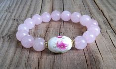 Pink rose quartz gemstone bracelet with lotus flower bead – rose quartz stone stretch bracelet – fertility healing passion love bracelet
