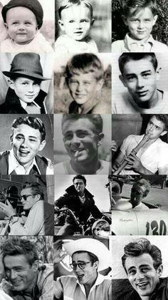 Nice mosaic, James Dean through the years Vintage Hollywood, Classic Hollywood, Hollywood Actor, Hollywood Stars, James Jim, Jude Low, Dean College, James Dean Photos, Pier Paolo Pasolini
