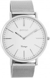 Oozoo Ultra Slim Vintage Uhr C7385 - silber/weiss - 40 mm - Meshband