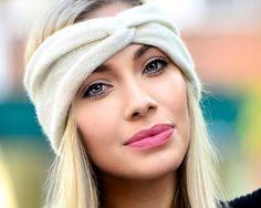Women's Turban Headband Cashmere Ear Warmer Ivory Headband Boho Headband Knit Headband Wide Headband Soft Wide Warm Headband Handmade Knit