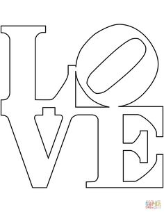 Robert Indiana Love coloring page from St. Select from 32015 printable crafts of cartoons, nature, animals, Bible and many more. Love Coloring Pages, Free Printable Coloring Pages, Free Coloring, Coloring Books, Wedding Coloring Pages, String Art Patterns, Stencil Patterns, Pattern Art, Indiana Love