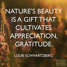 Nature's beauty is a gift that cultivates appreciation, gratitude. ~Louie Schwartzberg