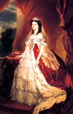 Queen Augusta (Augusta Marie Luise Katharina) (1811-1890) Saxe-Weimar-Eisenach, Germany by Franz Xaver Winterhalter. She is 2nd child of Prince Charles Frederick (1783-1853) Saxe-Weimar-Eisenach, Germany & Maria Pavlovna (1786-1859) Russia. Augusta is the    mother of Frederick III (Friedrich Wilhelm Nikolaus Karl) (1831-1888) Germany & wife of 1st German Emperor Wilhelm I (Wilhelm Frederick Louis) (1797-1888) Prussia-Germany.