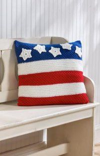 Stars and Stripes Pillow - Use red, white, and blue worsted weight yarn to complete this free crochet pattern.